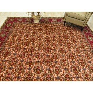 Hand-knotted Wool Ivory Traditional Oriental Tabriz Rug (10' x 15')