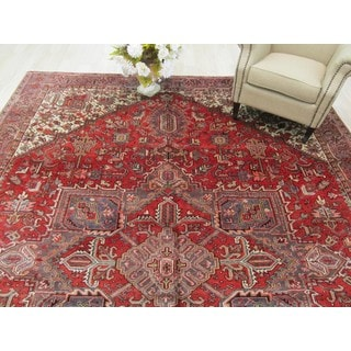 EORC Hand Knotted Wool Rust Heriz Rug ( 9'10 x 13'3)