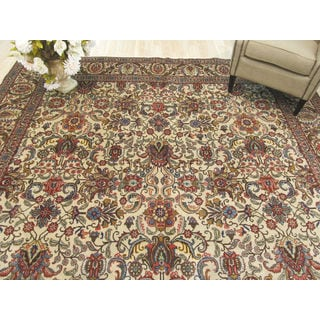 EORC Hand Knotted Wool Ivory Tabriz Rug ( 9'10 x 13'1)