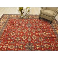Hand-knotted Wool Rust Traditional Geometric Kazak Rug (10' x 12'10)