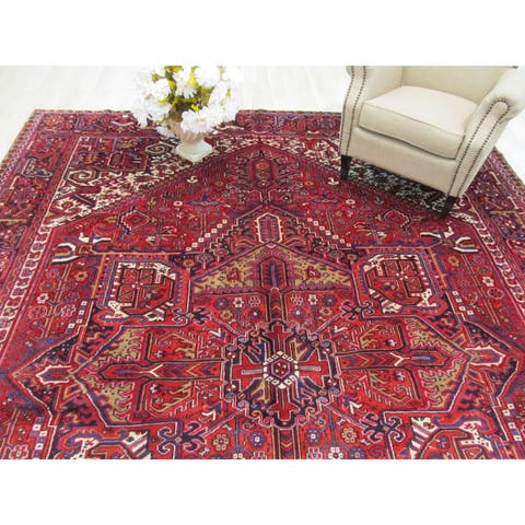 Hand-knotted Wool Rust Traditional Geometric Heriz Rug (10' x 13'3) - 10' x 13'