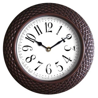 Wee's Beyond Brown 14-inch Woven-texture Frame Wall Clock