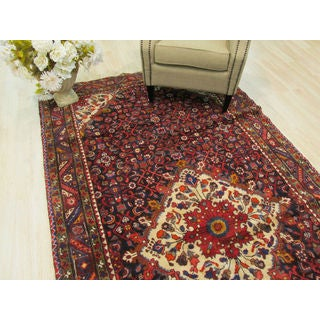 Hand-knotted Wool Navy Traditional Oriental Hamadan Rug (5'5 x 11'2) - 5'5 x 11'2