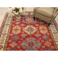 Hand-knotted Wool Red Traditional Geometric Super Kazak Rug (6'9 x 10'3)