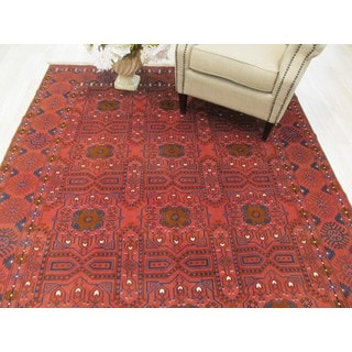 EORC Hand Knotted Wool Rust Bokhara Rug ( 6'5 x 9'11)