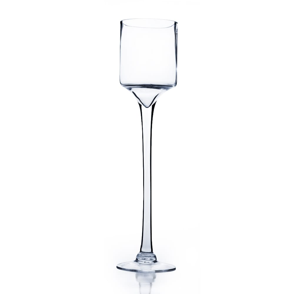 Raised Cylinder Clear Glass 20-inch Candle Holder/Wine Gl...