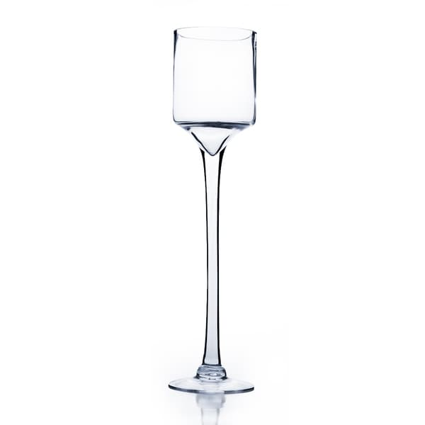 Shop Raised Cylinder Clear Glass 20 Inch Candle Holderwine Glass