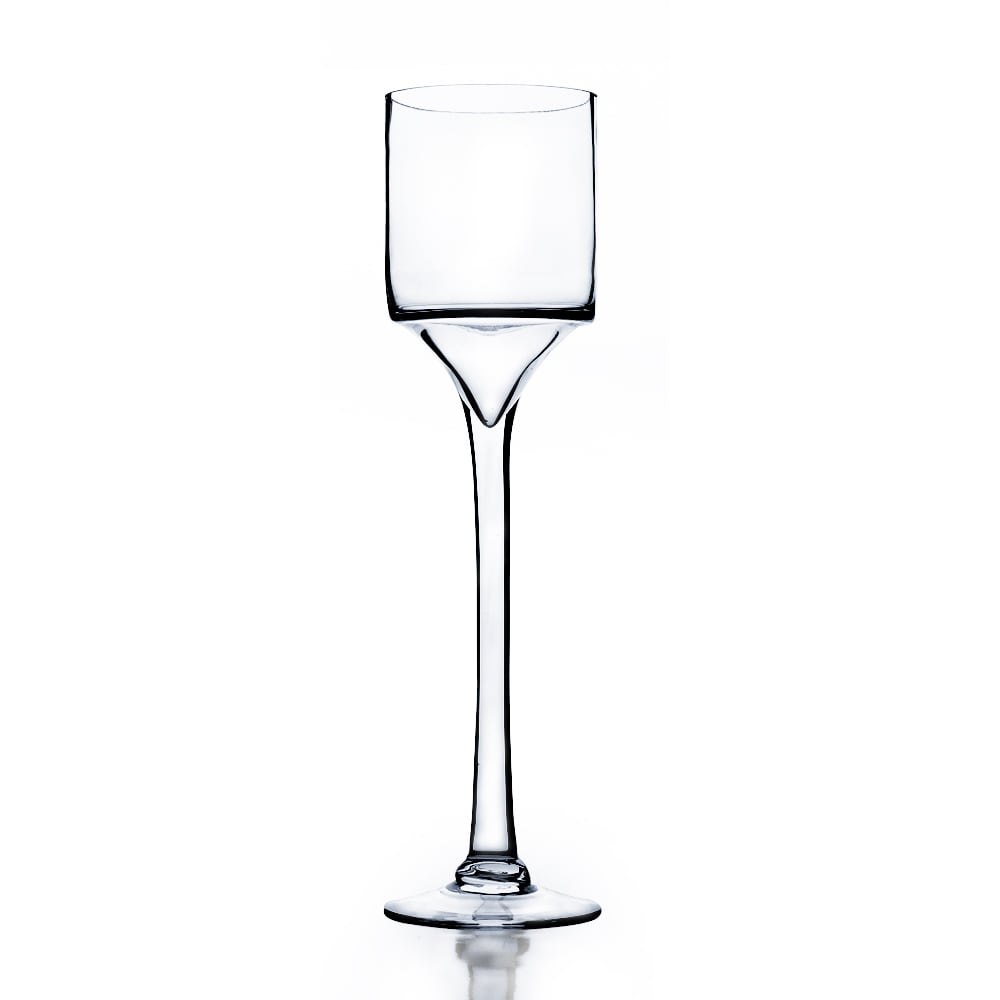 18-inch Clear Raised Cylinder Candle Holder on Stand / Wi...