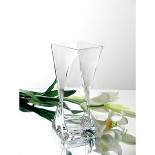 10-inch Clear Glass Block Twist Vase