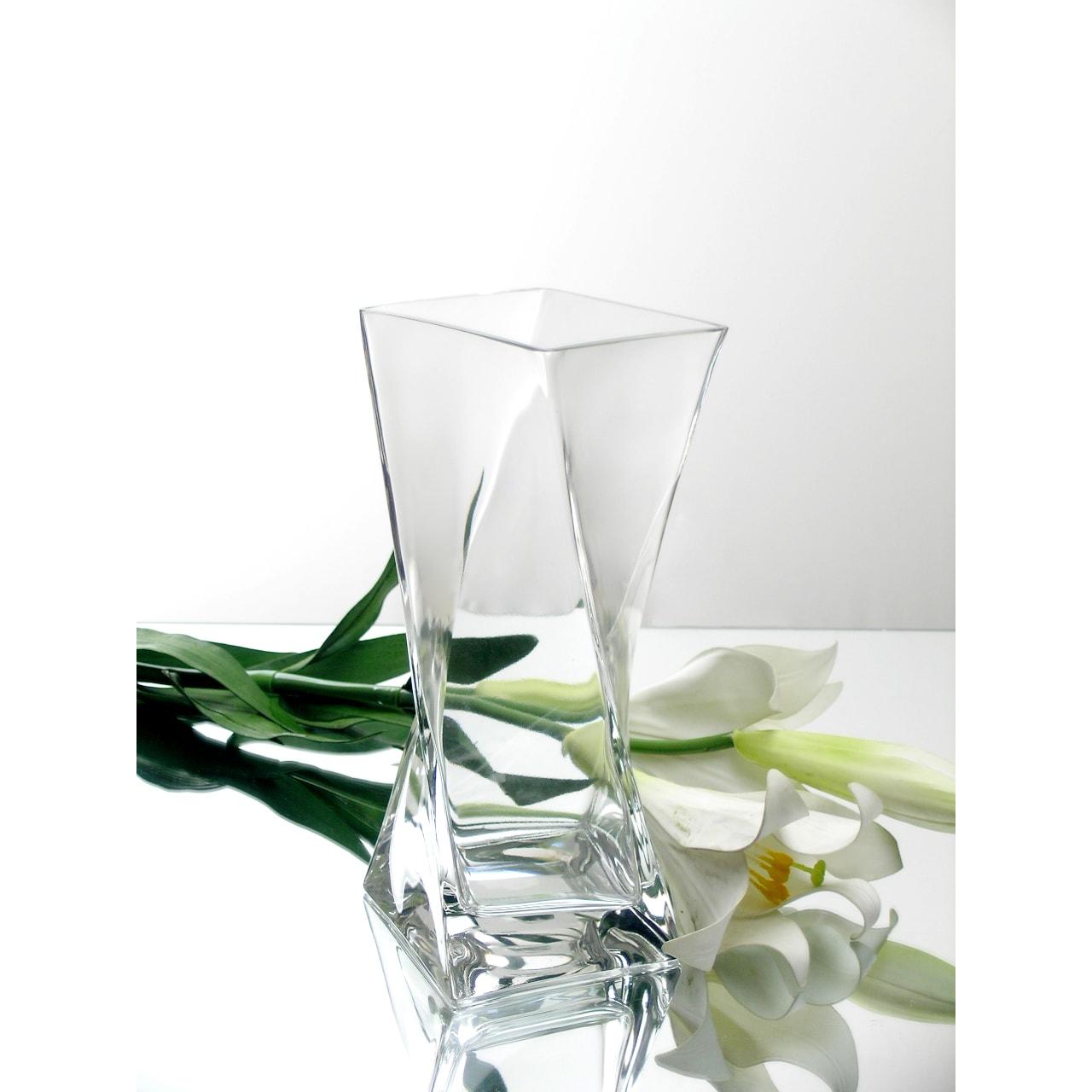 10-inch Clear Glass Block Twist Vase (10)