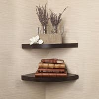Benzara Walnut Laminate 2-piece Corner Radial Shelf Set