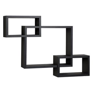 Benzara Black Laminate Intersecting Wall Shelf