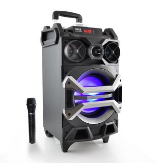 Pyle PWMA325BT Portable MP3/USB/SD/FM/Bluetooth Karaoke/PA Loudspeaker System With Flashing DJ Lights and Mic Talk Over