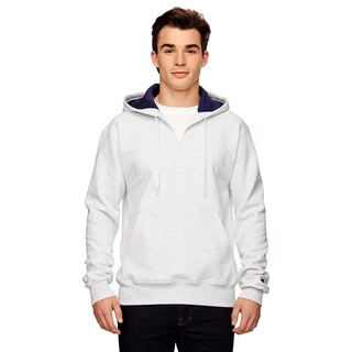 Men's Big and Tall Quarter-Zip White Heather Hooded Jacket