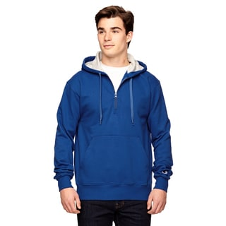 Men's Big and Tall Quarter-Zip Sport Royal Hooded Jacket