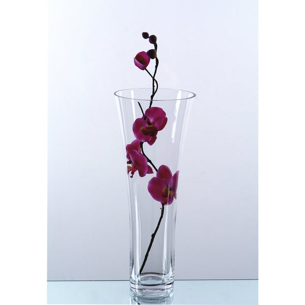Clear Glass 16-inch Tapered Flare-out Cylinder Vase