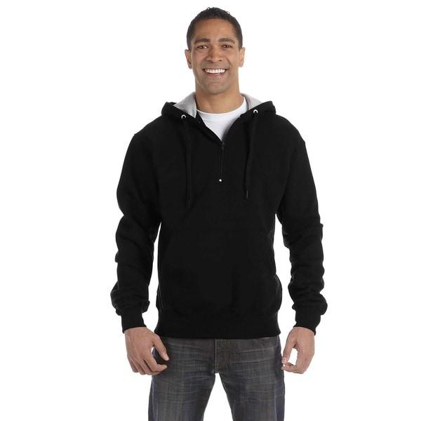 Mens Big and Tall Quarter-Zip Black Hooded Jacket