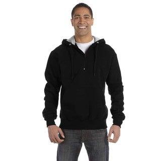 Men's Big and Tall Quarter-Zip Black Hooded Jacket