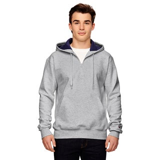 Men's Big and Tall Quarter-Zip Athletic Heather Hooded Jacket