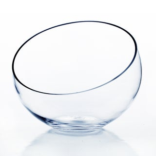 Clear Glass 10-inch Slant Cut Bowl Vase