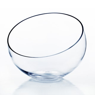 Clear Glass 8-inch Slant-cut Bowl Vase