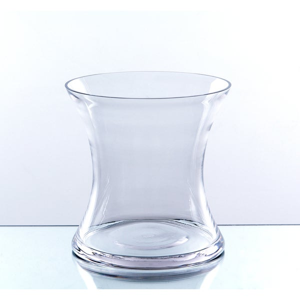 Shop Clear Short 6 Inch Hurricane Concaved Glass Vase Free