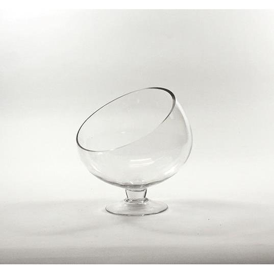 Slant-cut Clear Glass 10-inch Bowl Vase on Stand (10)