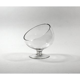 Clear 7-inch Slant-cut Bowl Vase on Stand