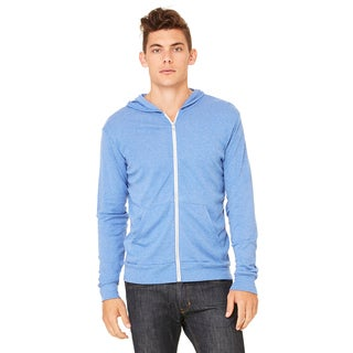 Unisex Big and Tall Full-Zip Lightweight Blue Triblend Hoodie