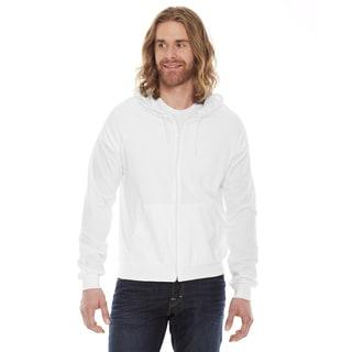 Unisex Fine Jersey Zip White Hoodie