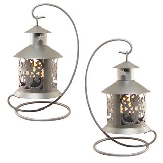Metal Tabletop Silver Lanterns (Set of 2)