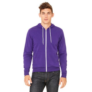 Unisex Big and Tall Poly-Cotton Fleece Full-Zip Team Purple Hoodie