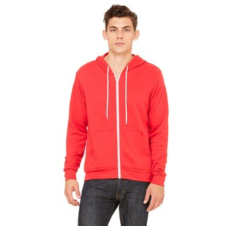 Unisex Big and Tall Poly-Cotton Fleece Full-Zip Red Hoodie