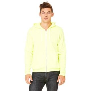 Unisex Big and Tall Poly-Cotton Fleece Full-Zip Neon Yellow Hoodie