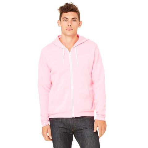 Unisex Big and Tall Poly-Cotton Fleece Full-Zip Neon Pink Hoodie