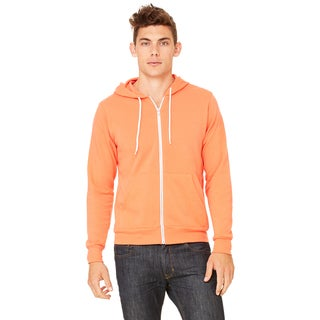 Unisex Big and Tall Poly-Cotton Fleece Coral Full-Zip Hoodie