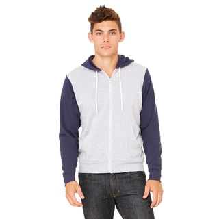 Unisex Big and Tall Poly-Cotton Fleece Athletic Heather/Navy Full-Zip Hoodie