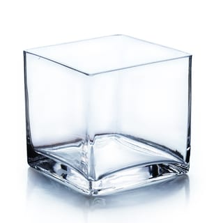 Hand-blown Clear Glass 5-inch Cube Vase