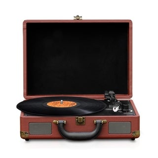 Pyle PVTTBT9BR Bluetooth Briefcase-style Brown Classic Vintage Style Turntable Speaker System Vinyl-to-MP3 Recording MP3/USB/SD