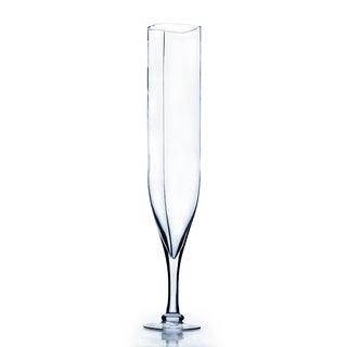 Clear Glass 24-inch Rounded Square Opening Champagne Vase