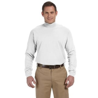 Sueded Men's White Cotton Jersey Mock Turtleneck