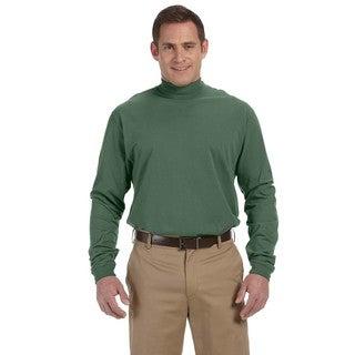 Sueded Men's Dill Cotton Jersey Mock Turtleneck