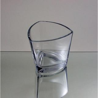 Rounded Triangular Clear Glass 4-inch Candle Holder Vase
