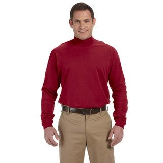 Sueded Men's Crimson Cotton Jersey Mock Turtleneck