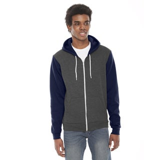 Unisex Big and Tall Dark Heather Grey/Navy Flex Fleece Zip Hoodie