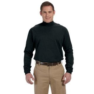 Sueded Men's Black Cotton Jersey Mock Turtleneck