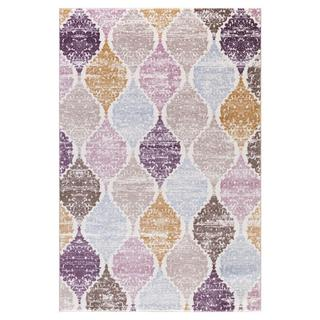 Persian Rugs Diamond Shapes Purple Brown Blue Beige Cream Area Rug (7'11 x 9'10)