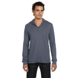 Thermal Men's Big and Tall Deep Heather Long-Sleeve Henley Hoodie