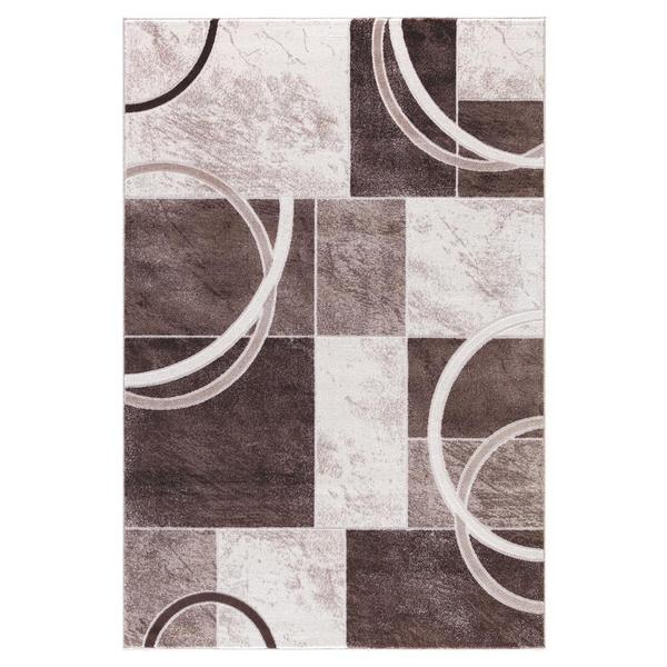 Persian Rugs Abstract Shapes/Arc with Tones of Beige Brown Cream Area Rug (2'0 x 3'0)