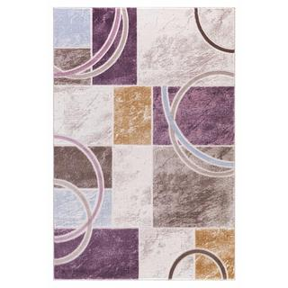 Persian Rugs Abstract Shapes/Arc with Tones of Purple Blue Brown Cream Area Rug (7'11 x 9'10)